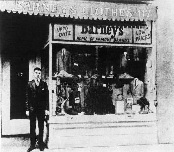 Barney Pressman in front of his first store, Image  Via