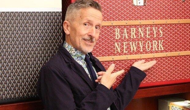Simon Doonan, Creative Director to Barneys New York with monogrammed Goyard trunk. Image  Via