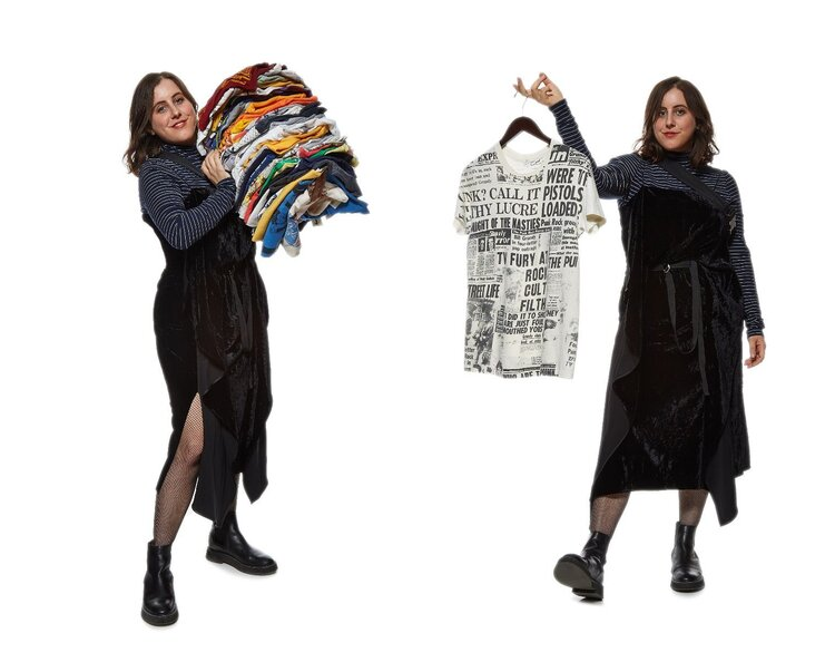 Paige Rubin (@paigerubin) holds a stack of clothes (left) and a Galliano era Dior top (right). Image  Via